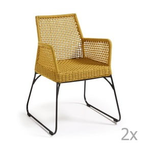Zestaw 2 musztardowych krzeseł La Forma Novak