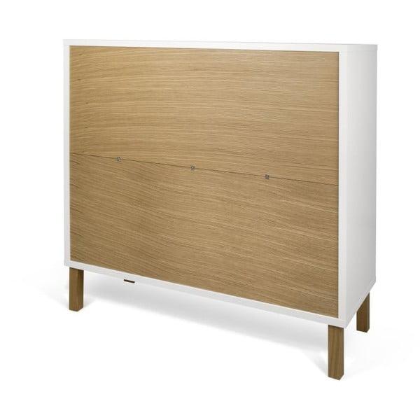 Biała komoda z drewnianymi nogami TemaHome Niche Oak