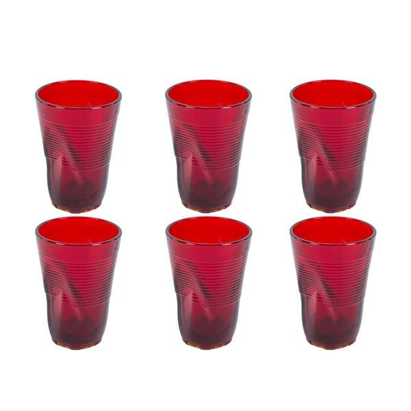 Zestaw 6 czerwonych szklanek Kaleidos, 340ml