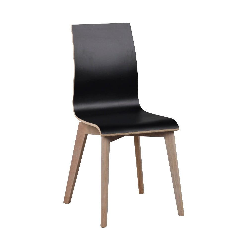 Czarne krzesło do jadalni ze jasnoszarymi nogami Rowico Grace
