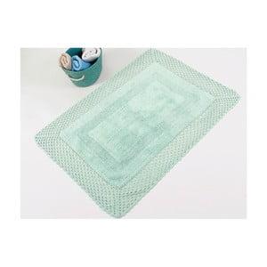 Zielony ręcznie tkany dywanik łazienkowy z bawełny premium Lizz, 55x72 cm