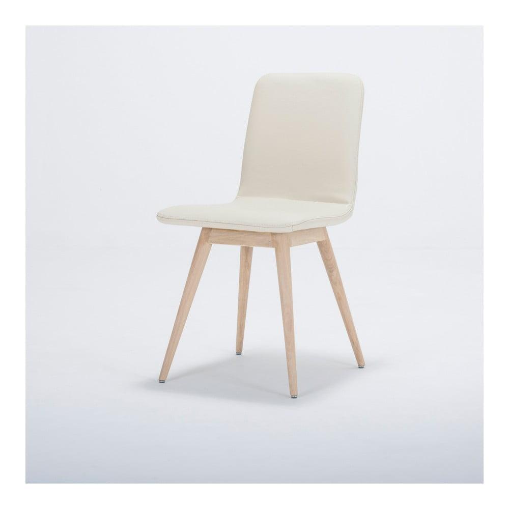 Krzesło z litego drewna dębowego z białym skórzanym siedziskiem Gazzda Ena