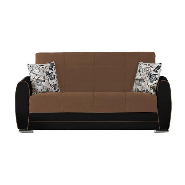 Kakaowo-czarna dwuosobowa sofa rozkładana ze schowkiem Esidra Rest