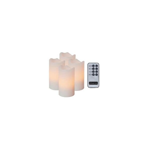 Zestaw 4 białych świeczek LED z pilotem Best Season White Wachs