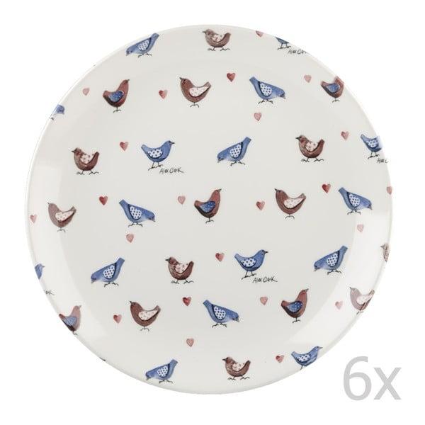Zestaw 6 talerzy Churchill China Lovebirds, 26 cm