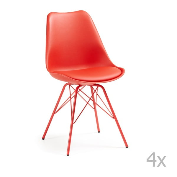 Zestaw 4 czerwonych krzeseł La Forma Lars