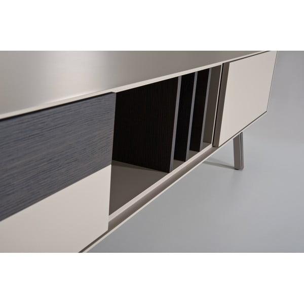 Beżowy stolik pod TV, dębowy Vintme AL2, 200cm