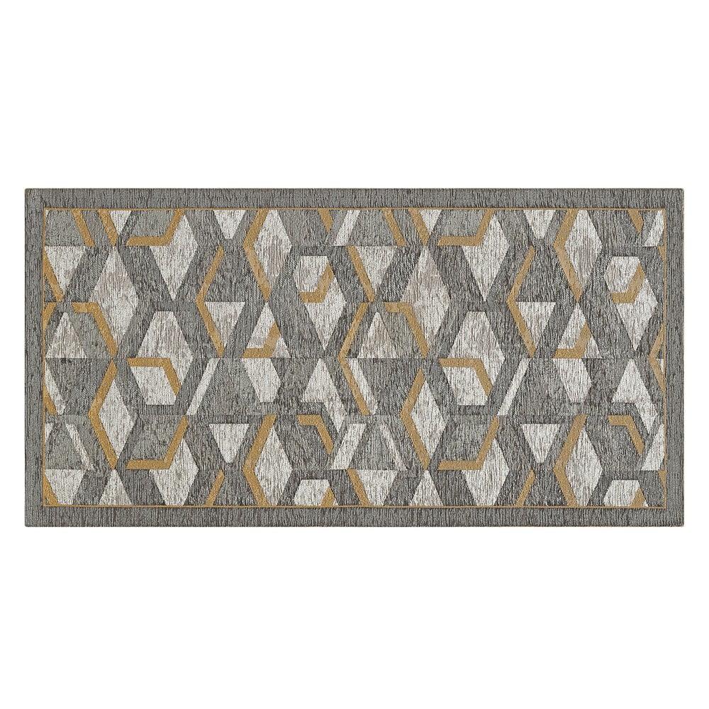 Szary chodnik z detalami w kolorze złota Floorita Hypnotik, 55x190 cm