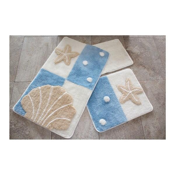 Komplet 3 dywaników łazienkowych Leonard