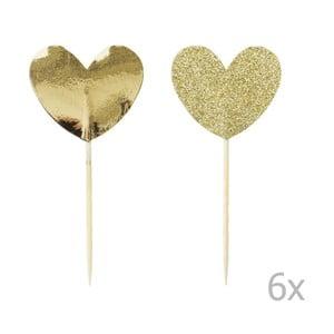 Zestaw 12 ozdób na tort Miss Étoile Gold Heart