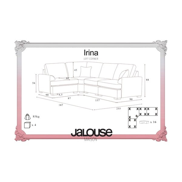 Sofa narożna Jalouse Maison Irina, lewy róg, czekoladowa