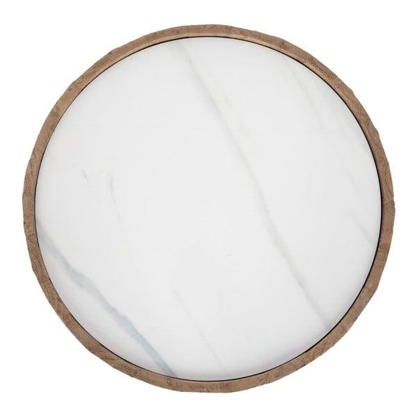 Drewniany stolik z białym blatem J-line Cer, 43 cm