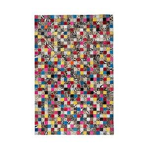 Kolorowy dywan ze skóry bydlęcej Patchwork, 180x120 cm