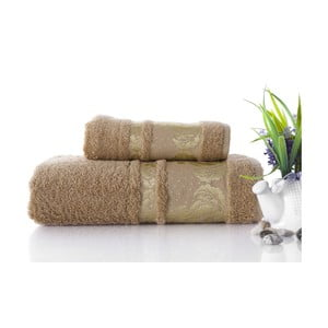Zestaw 2 ręczników Antik Gold Mocha, 70x140 i 50x90 cm