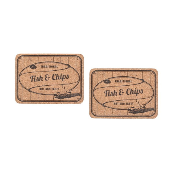 Zestaw 2 korkowych mat stołowych Fish&Chips