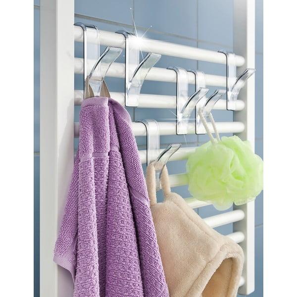 Komplet 2 haczyków na ręczniki Radiator, przezroczyste