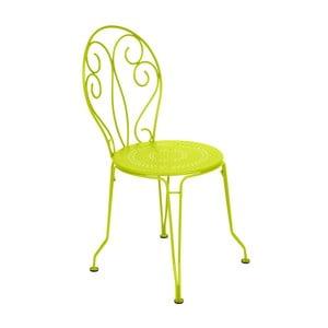 Limonkowe krzesło metalowe Fermob Montmartre