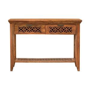 Stolik z 2 szufladami z litego drewna palisandru Massive Home Rosie
