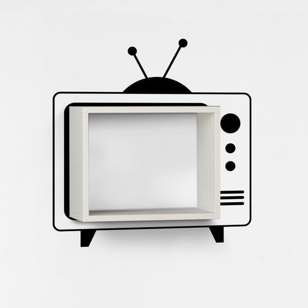 Półka z naklejką TV White