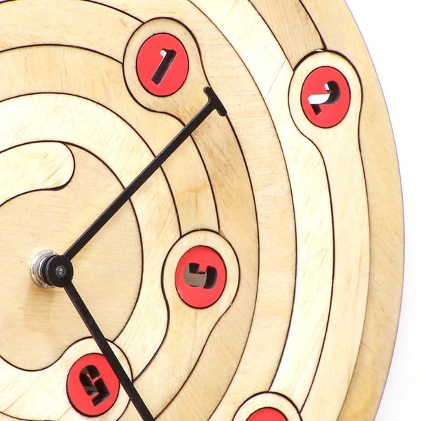 Zegar drewniany Spiral, 29 cm