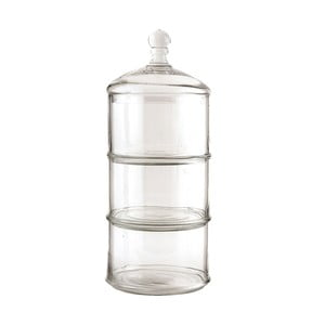 Szklany potrójny pojemnik Clayre, 41x16 cm