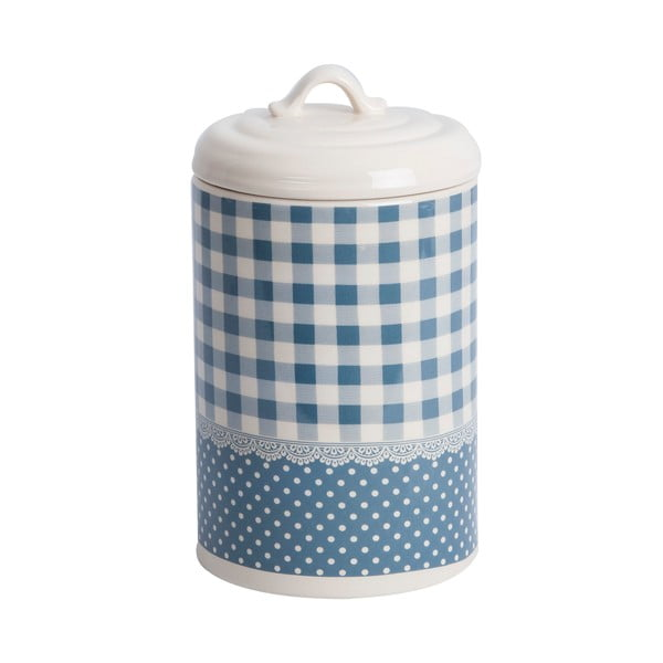 Pojemnik ceramiczny Blue Dots&Checks, 21 cm