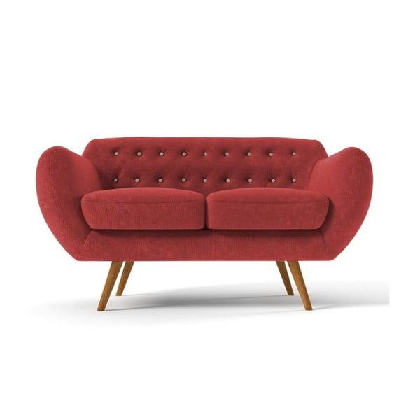 Czerwona   sofa dwuosobowa z beżowymi guzikami Wintech Indigo