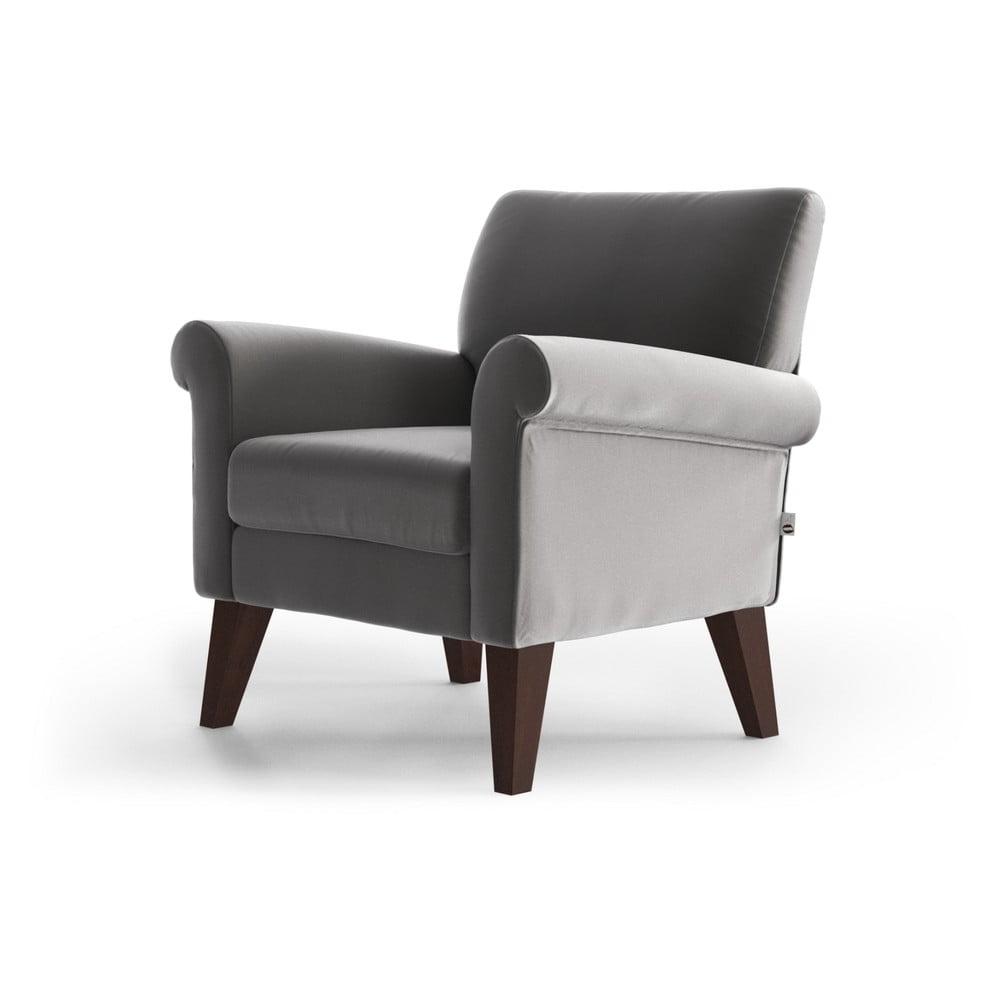 Jasnoszary aksamitny fotel My Pop Design Iena