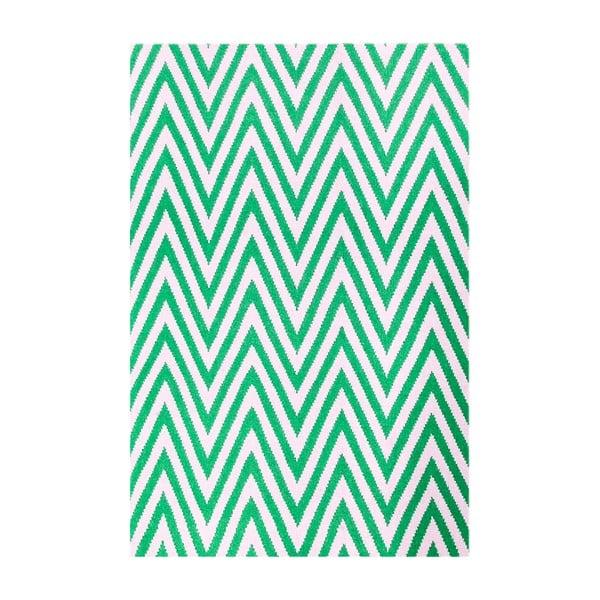 Dywan wełniany Zig Zag Green, 180x120 cm
