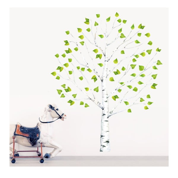 Naklejka wielokrotnego użytku Birch Tree, 130x200 cm