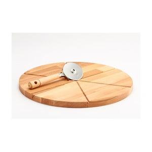 Komplet deski z drewna bukowego i noża do pizzy Bisetti, 35 cm