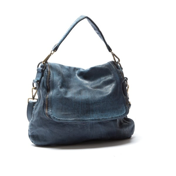 Skórzana torebka Mangotti 0009, niebieska