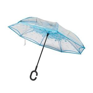 Przezroczysty parasol z niebieskimi detalami Water Lily, ⌀110cm