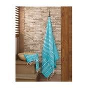 Zestaw 2 niebieskich ręczników ze 100% bawełny (mały i kąpielowy) Hammam Sultan