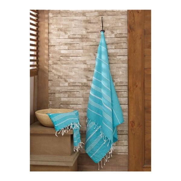 Zestaw 2 niebieskich ręczników Hammam Sultan