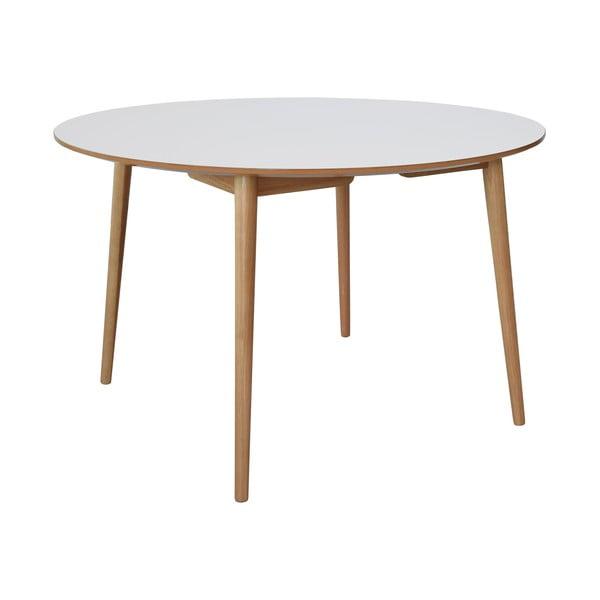 Biały stół do jadalni z dębowymi nogami RGE Trim