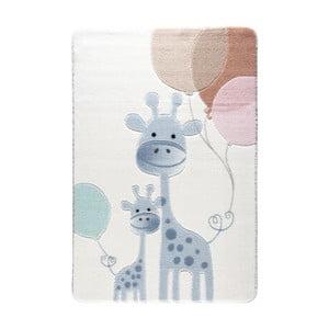 Jasnoniebieski dywan dziecięcy Confetti Happy Giraffe, 133x190 cm