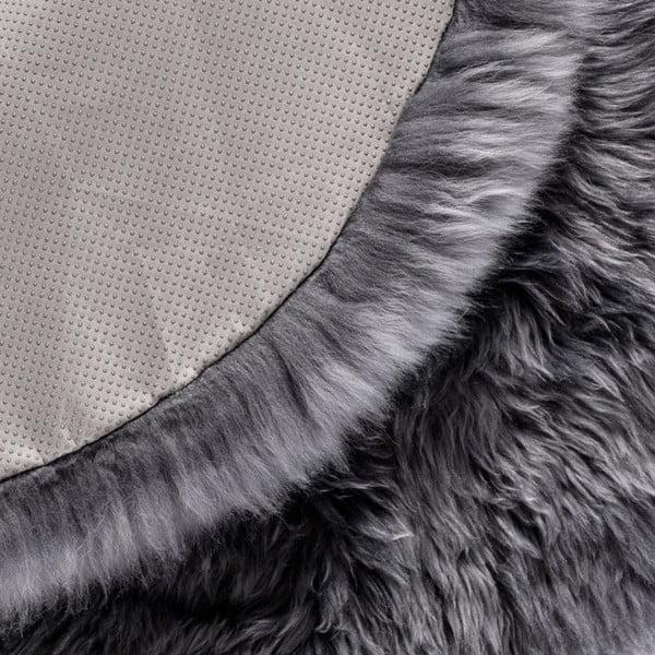 Szary dywan okrągły z owczej wełny Royal Dream Zealand