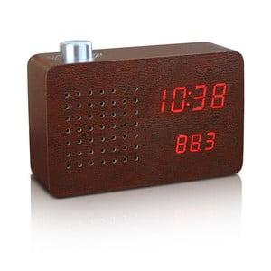 Brązowy budzik z czerwonym wyświetlaczem LED i radiem Gingko Click Clock