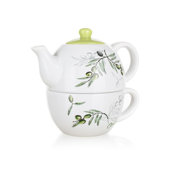 Ceramiczny dzbanek z filiżanką Banquet Olives