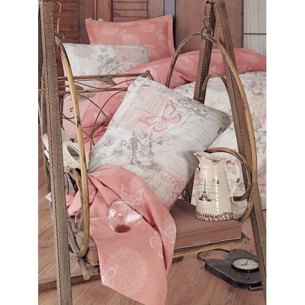 Beżowa pościel z prześcieradłem na łóżko dwuosobowe Love Colors Halen, 200 x 220 cm
