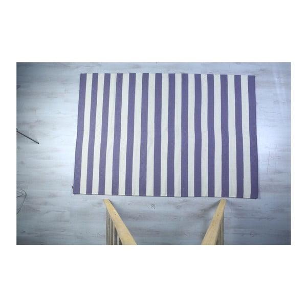 Dywan wełniany Geometry Stripes Purple & White, 160x230 cm