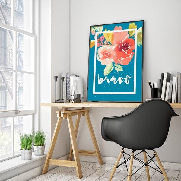 Plakat z kwiatami Bravo, niebieskie tło, 30 x 40 cm