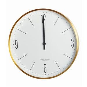 Biało-złoty zegar ścienny Zegar House Doctor Couture Gold, ⌀ 30 cm