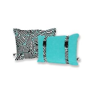 Turkusowa dwustronna poduszka plażowa Origama Black and White