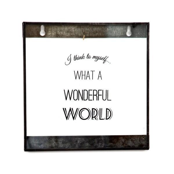 Szklana tabliczka z napisem Wonderful World, 20x20 cm