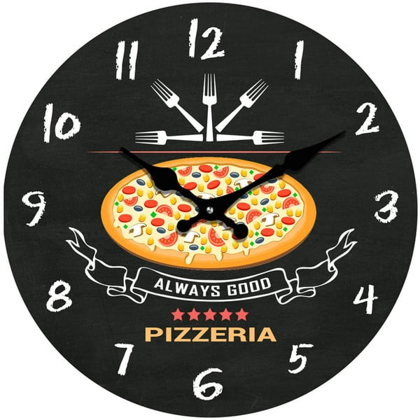 Szklany zegar Pizzeria, 34 cm