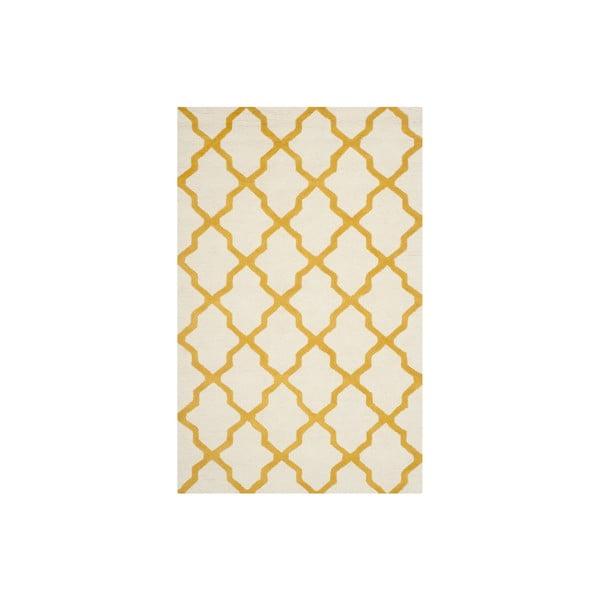 Wełniany dywan Ava 152x243 cm, biały/pomarańczowy