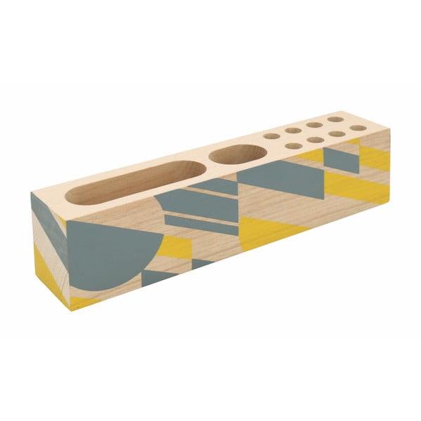 Żółte etui na długopisy z drewna bukowego Portico Designs Geometrico