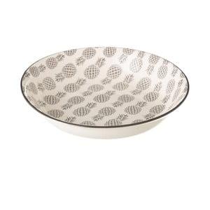 Szaro-biały głęboki talerz porcelanowy Unimasa Pinna